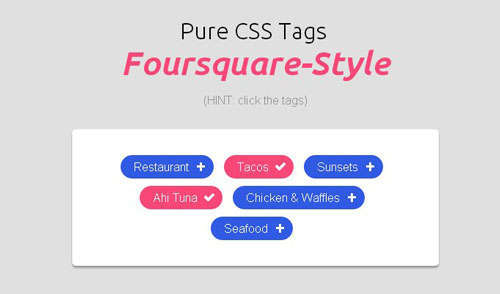 Pure Css Tags Foursquare Style