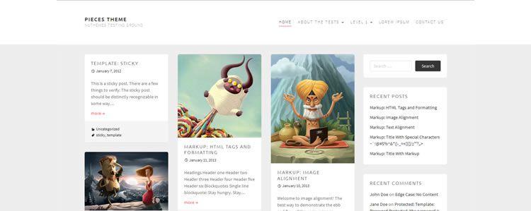 Pieces (Grid-based blogging portfolio theme)