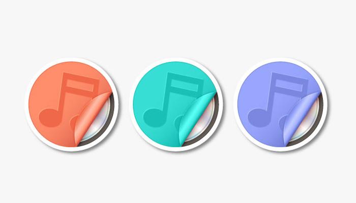 music sicker icons illustrator vector