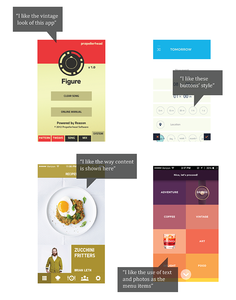 Screenshot: choose some favourite designs and specify what you like.