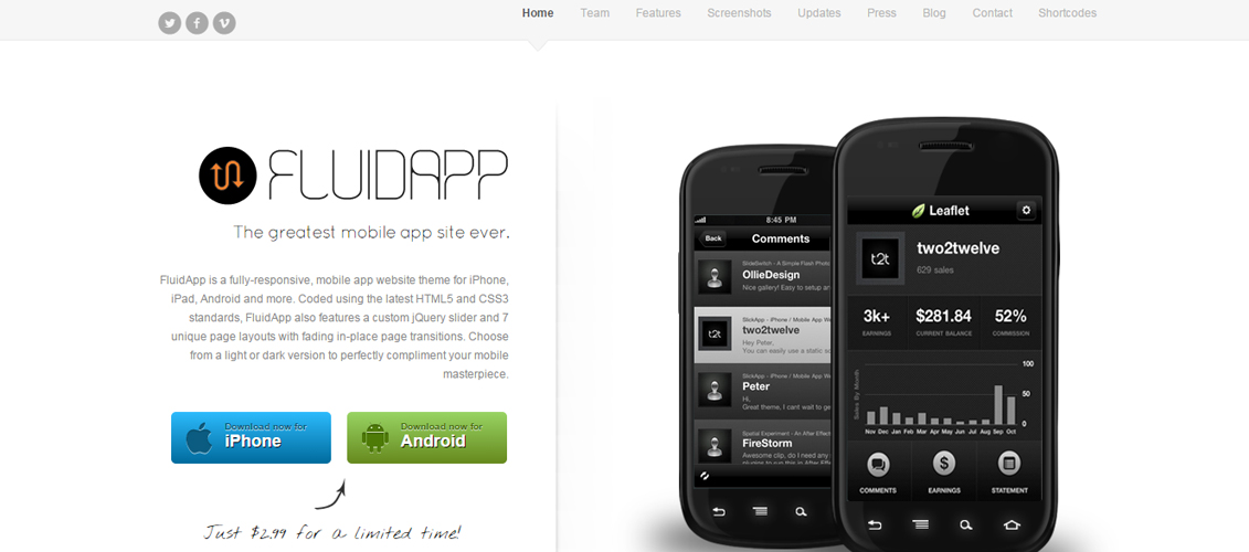 FluidApp - Responsive Mobile App WordPress Theme
