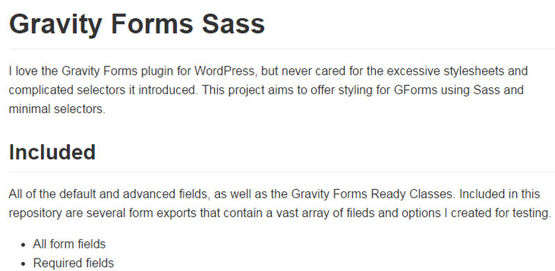 Gravity Forms Sass