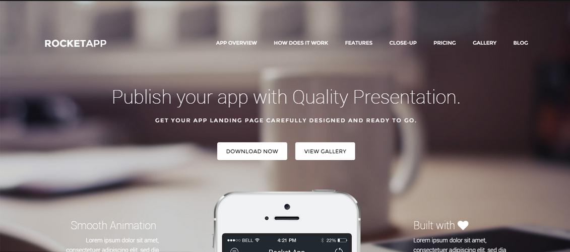 Rocket App - Responsive App Landing Theme