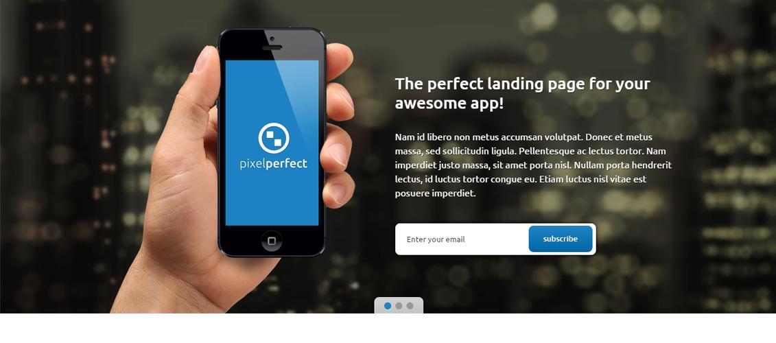 PixelPerfect - Responsive Landing Page WP Theme