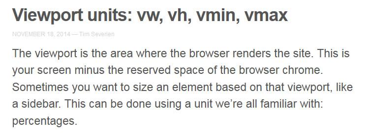 Viewport units: vw, vh, vmin, vmax by Tim Severien