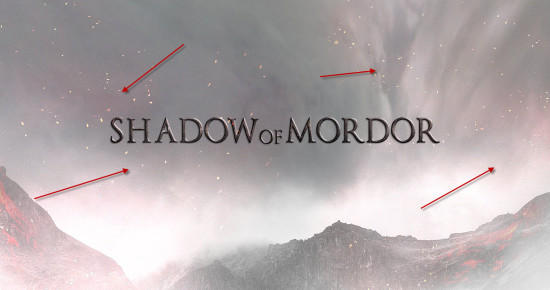 5 more sparks 550x290 Create Dark Text Effect Inspired by Middle Earth: Shadow of Mordor Game in Photoshop