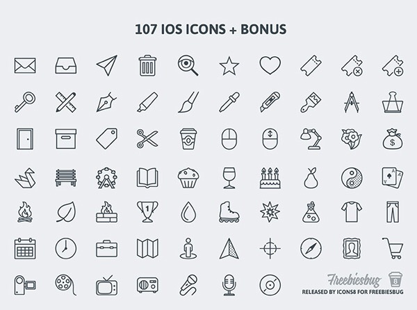 Free Download : 107 PSD icons for iOS