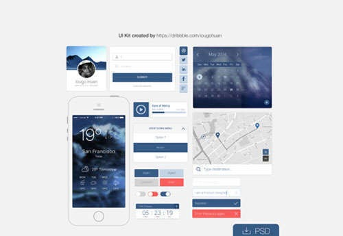 20 Free Web & Mobile PSD UI Kits 2014