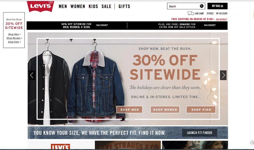 Levi's is a great example of modern trends meeting traditional layout.