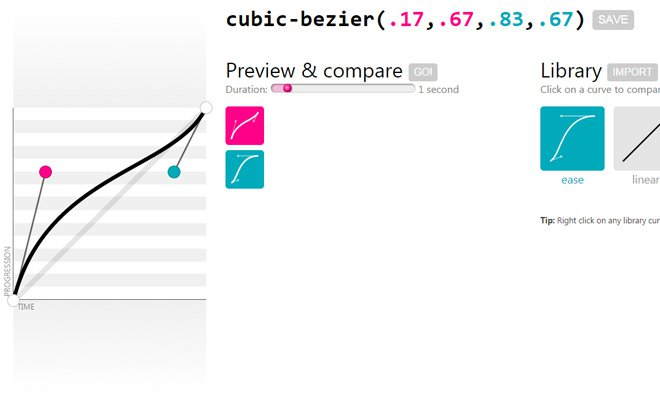 cubic bezier animation webapp generator code css3
