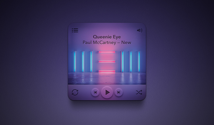 Purple Music Player Free PSD