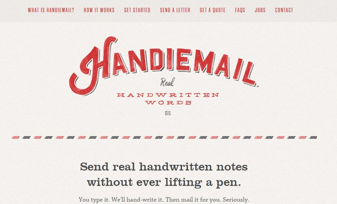 handiemail homepage navigation scrolling bar
