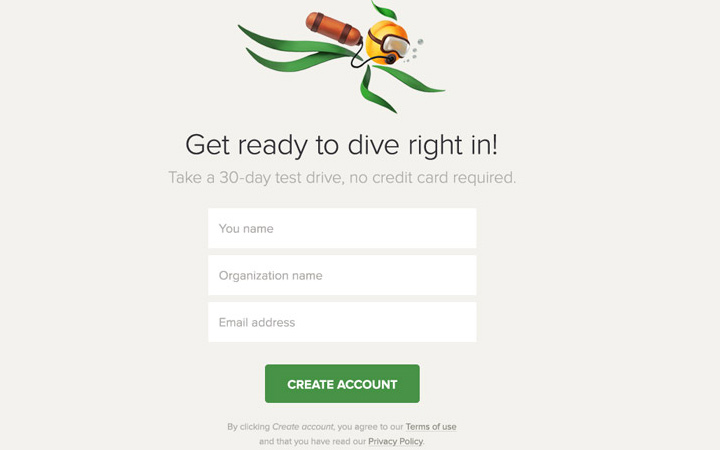 dive in register registration form