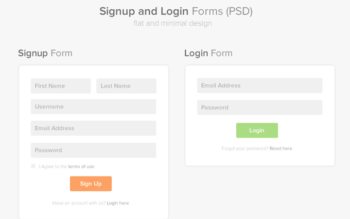 freebie psd signup login minimalist forms