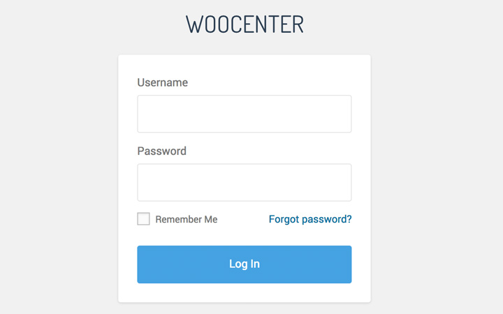 woocenter login form ui design