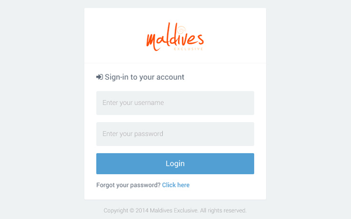 maldives login form admin ui