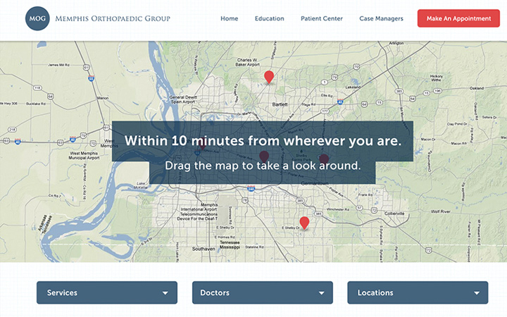 memphis orthopaedic group homepage mockup