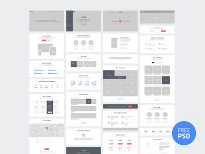 One Page Website Wireframes
