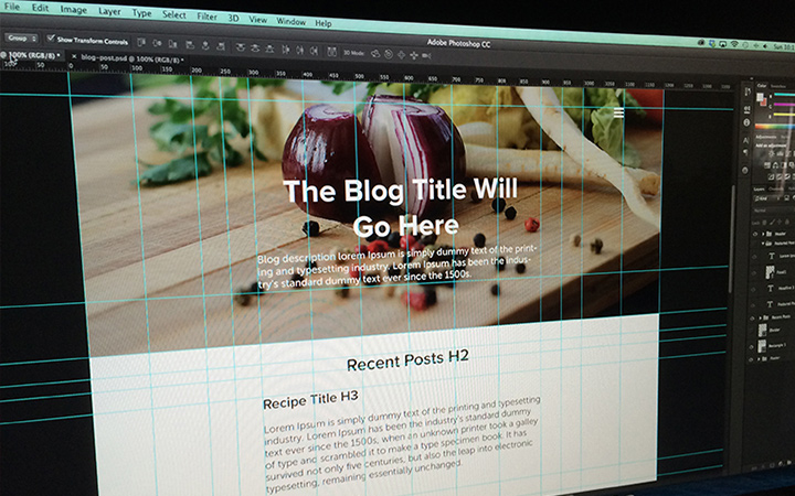food blog mockup website layout