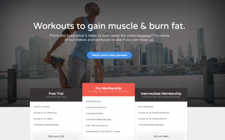 fitness membership gym website homepage