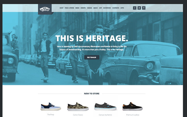 mockup homepage vans website redesign