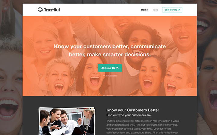trustiful mockup homepage layout