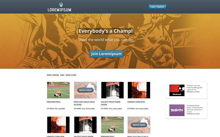 everybodys a champ homepage design
