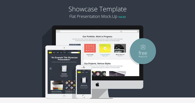 Flat Responsive Showcase Free PSD