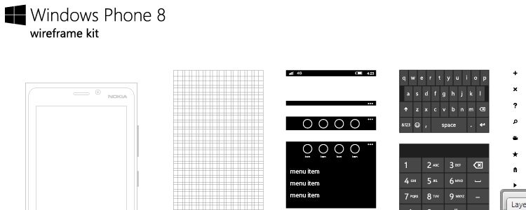 Windows Phone 8 Wireframe Kit ai