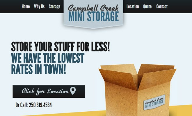 campbell creek mini storage website layout