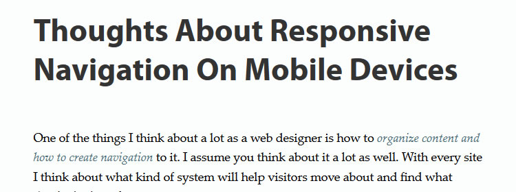 Thoughts About Responsive Navigation On Mobile Devices by Steven Bradley
