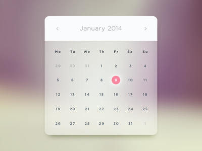 White Glass Calendar Free PSD