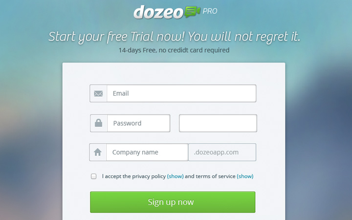 dozeo pro signup form interface ui