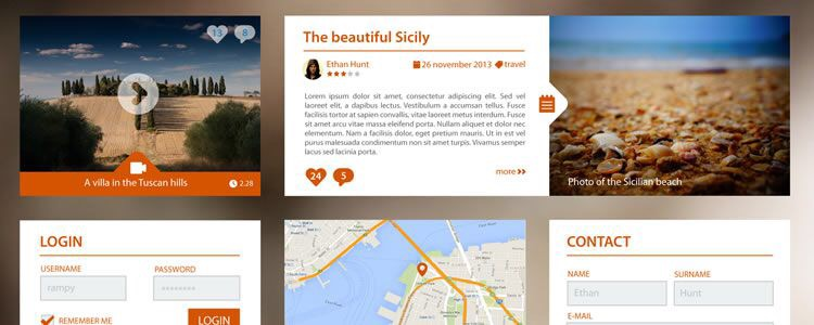 Top 40+ Web & Mobile GUI Templates from 2014