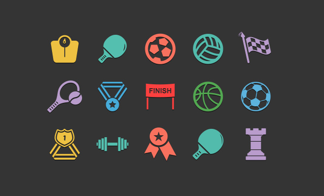 100 sport fitness icons freebie