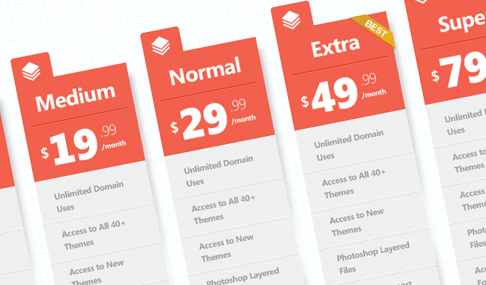 Modern Orange Pricing Tables Free PSD