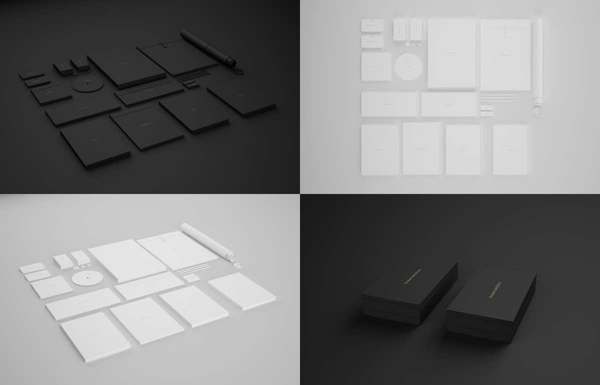 Black & White Brand Stationary Mockup Free PSD