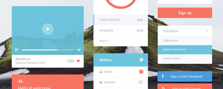 Flat Ui Kit by Andrew McKay PSD