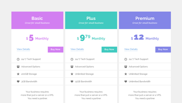 Pastel Pricing Tables Free PSD