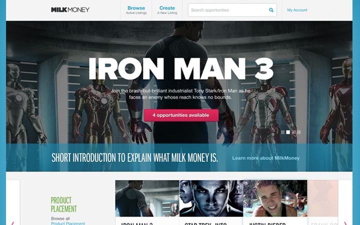 casual iron man homepage design ui