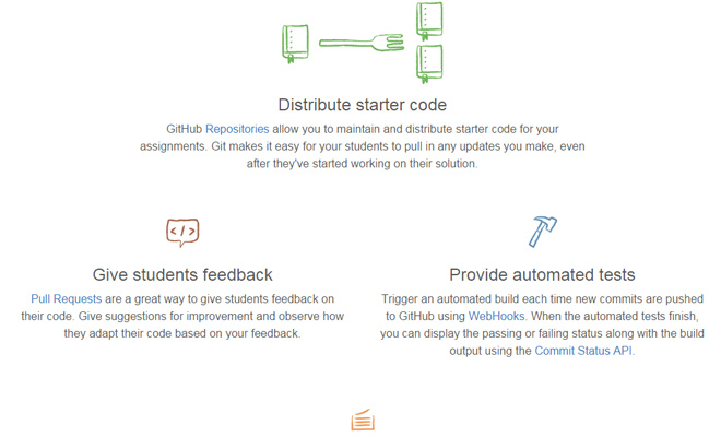 github education landing page handdrawn icons