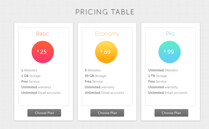 Simple Pricing Tables Free PSD