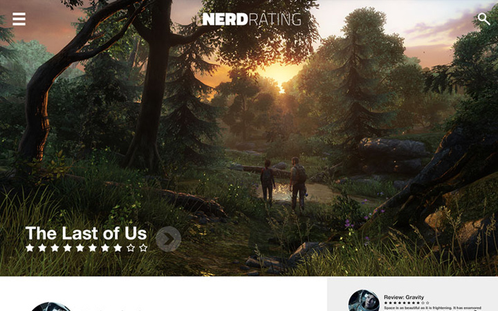 nerd rating website concept homepage