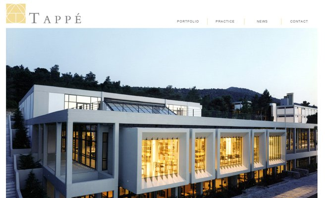 tappe architects fullscreen website layout design