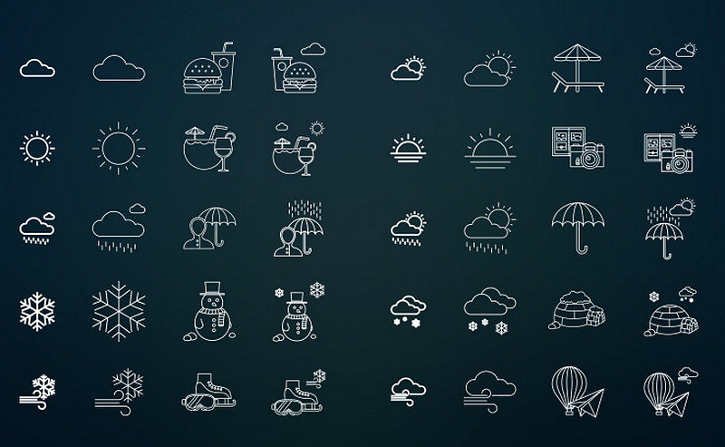 Indra - 80 Free Weather & Activities Icons