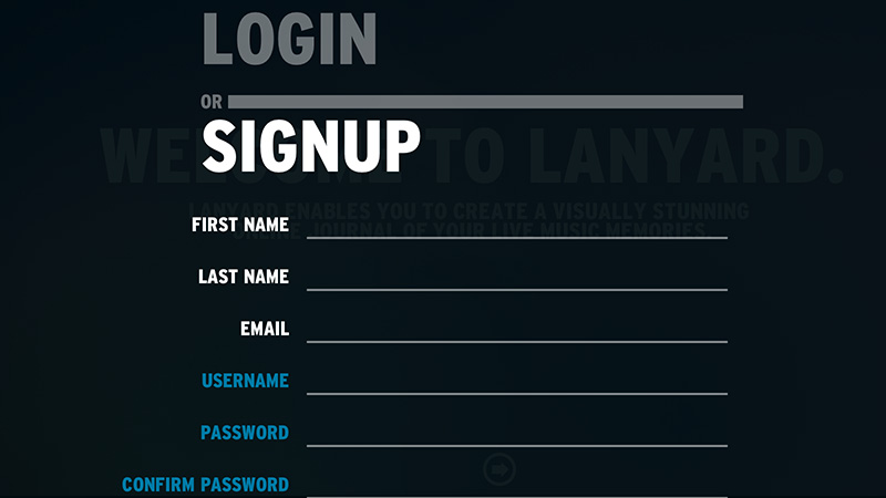 lanyard fm signup form contrast large text design