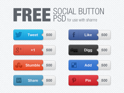 Social Buttons with Counters Free PSD