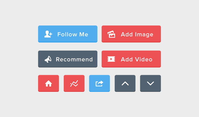 Flat Button Set Free PSD