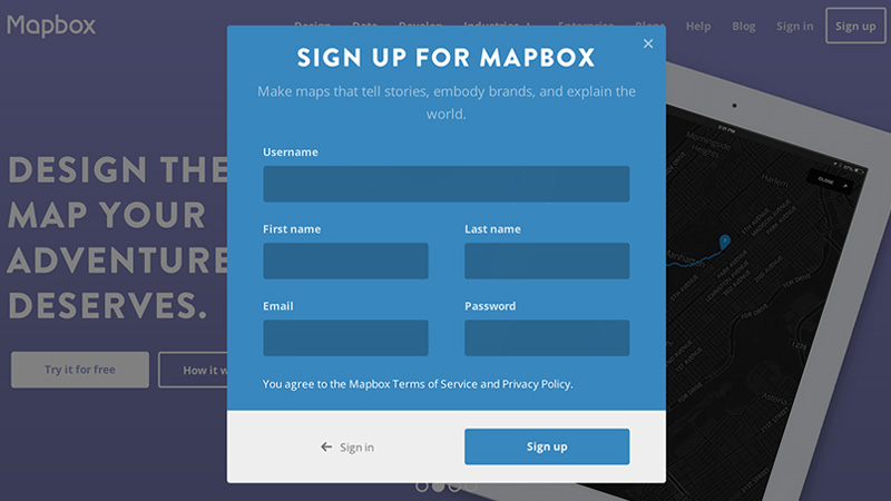 mapbox modal register login animated forms