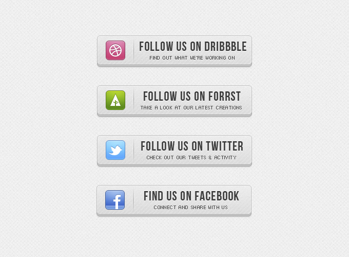 3D Follow Us Buttons Free PSD